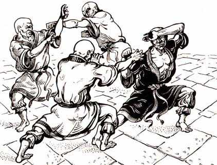 Dipinto che raffigura allenamenti nel Monastero Shaolin